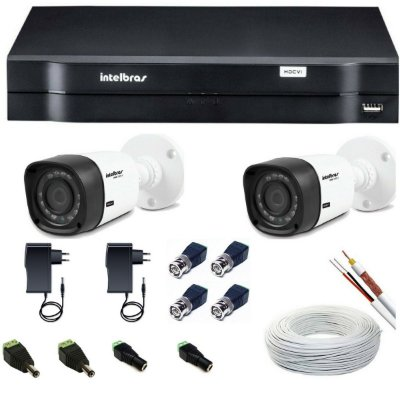 Kit CFTV 2 Câmeras Intelbras / Sem Hd