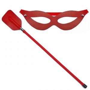 Chibata com Máscara em Couro - Coleção Inspirada Filme 50 Tons + Escuros - Enjal - Ref: 20242