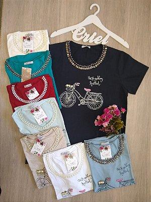 220 T-Shirt Viscolycra Silk Com Pedrarias