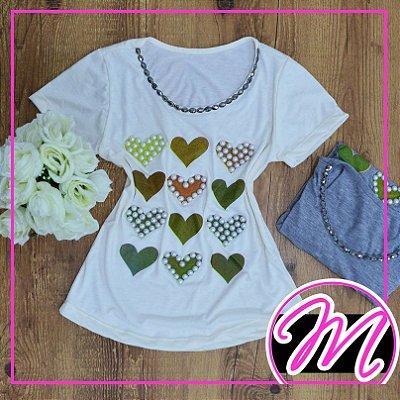 T-Shirt de Pedraria com Estampa de Corações