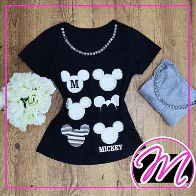 T-Shirt de Pedraria com Estampa Mickey