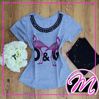 """T-Shirt de Pedraria com Estampa """"D&G"""" Flamingos"""