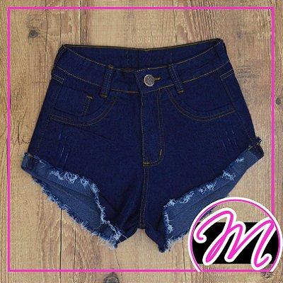 Shorts Jeans Escuro Desfiado 1 Botão