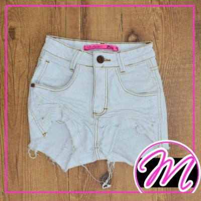 Shorts Jeans Hot Pants Branco 1 Botão
