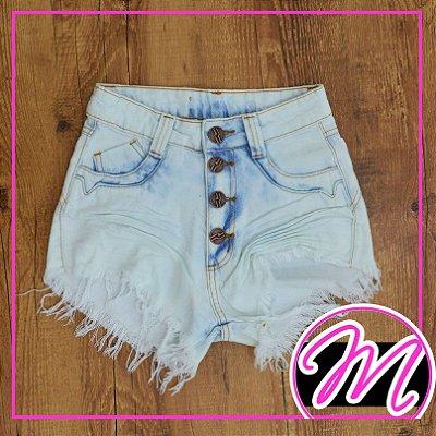Shorts Jeans Hot Pants Manchado 4 Botões