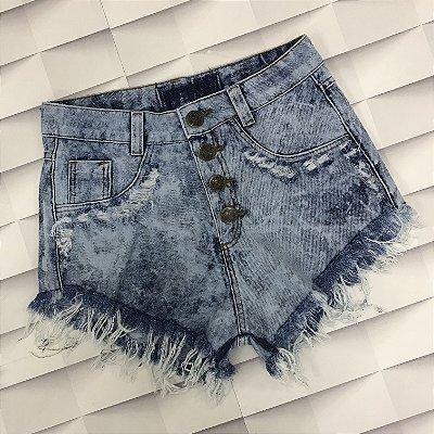 Shorts Jeans Manchado com Puídos 4 Botões