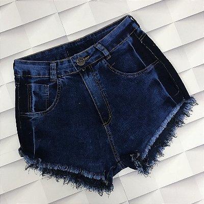 Shorts Jeans Escuro 1 botão com Detalhe Manchado na Lateral 1 Botão
