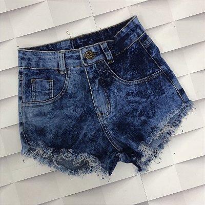 Shorts Jeans Azul Manchado 1 Botão