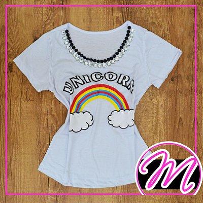 """T-Shirt Camiseta de Pedraria com Estampa """"Unicorn"""""""