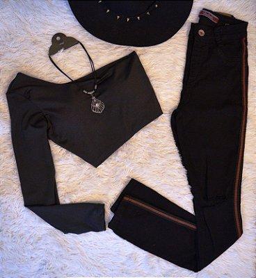 Calça Jeans Preta Listra