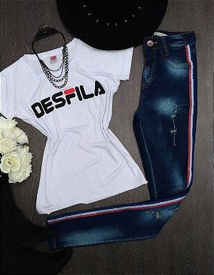 Calça Jeans Manchada Listra