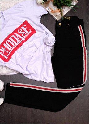 Calça Jeans Ozup Preta Listra Vermelha