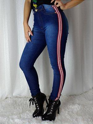 Calça Jeans Ozup Azul Listra Dupla Vermelha