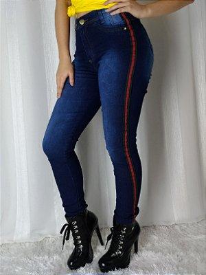 Calça Jeans Ozup Azul Listra Verde e Vermelha