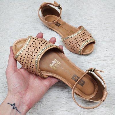 Sandália Rasteira Dakota Trança Metalizado