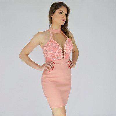 Vestido Renda com detalhes em Tule