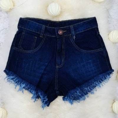 Shorts Jeans Azul Escuro Desfiado