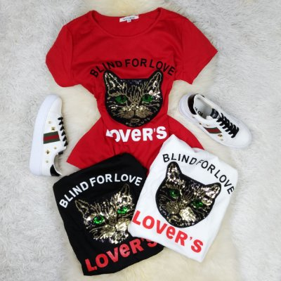 T-Shirt BLIND FOR LOVE Estampa Gatinho