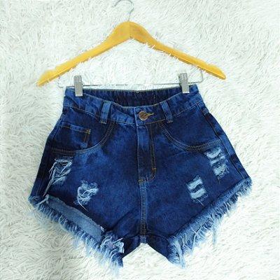 Shorts Jeans Manchado Dois Rasgos no Bolso