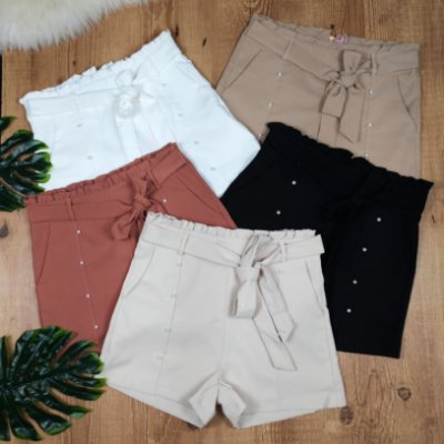 Shorts com Pérolas Amarra na Cintura