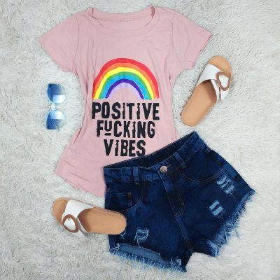 T-Shirt Arco Iris POSITIVE VIBES