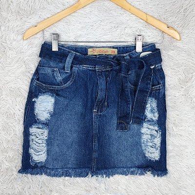 Saia Jeans com Amarra na Cintura