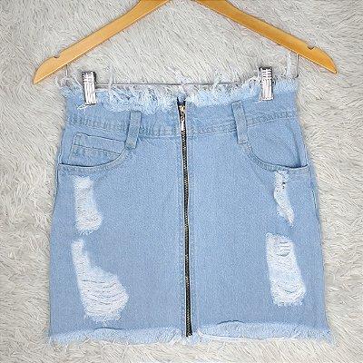 Saia Jeans Abertura em Ziper