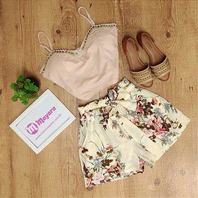 Shorts Floral Amarra na Cintura