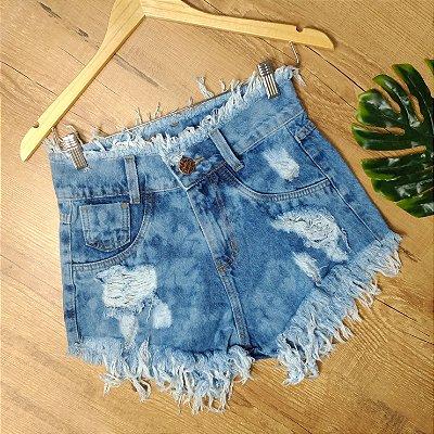 Shorts Jeans Desfiado na Cintura