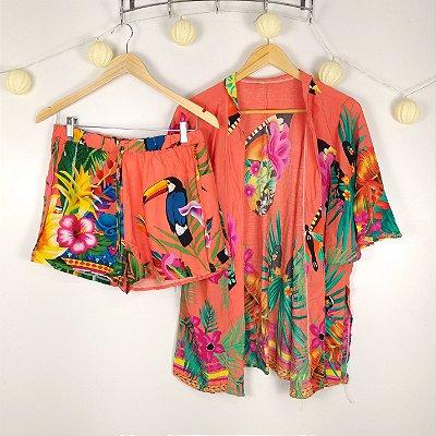 Conjunto Kimono e Short Estampados