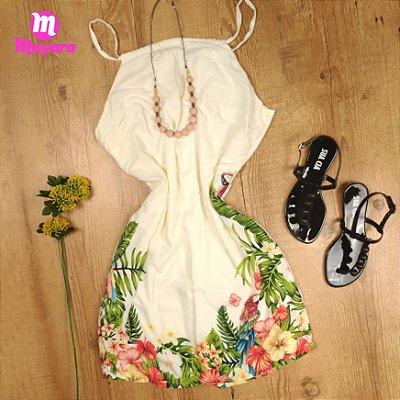 Vestido Curto Liso Floral