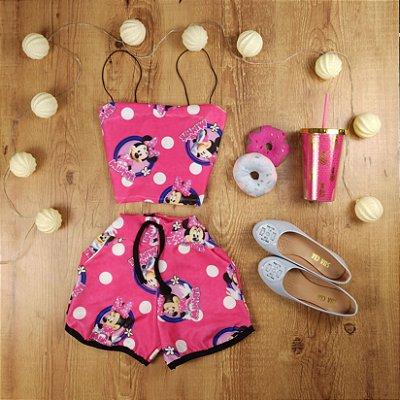 Conjunto Cropped e Shorts Minnie