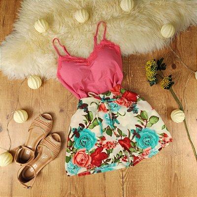 Shorts Estampa Rosas
