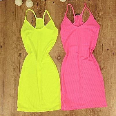 Vestido Canelado Neon