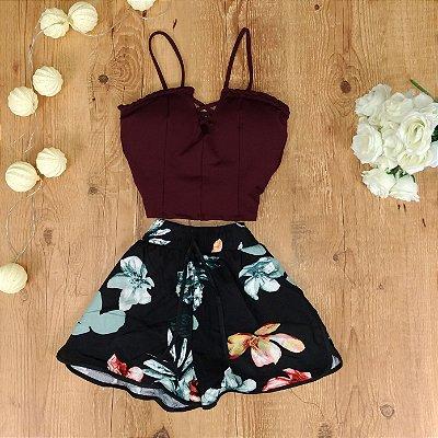 Shorts Floral com Amarra