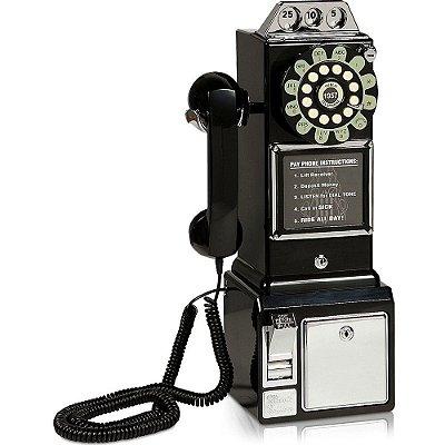 Telefone Retro Classic Watson Preto 32387 com Fio e Rediscagem