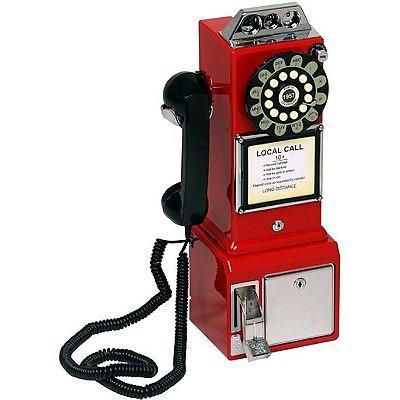 Telefone Retro Classic Watson Vermelho 33749 com Fio e Rediscagem