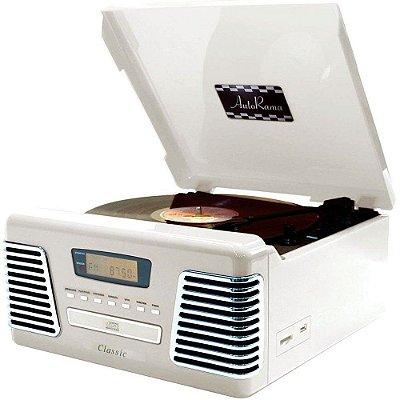 Toca Discos Classic AutoRama Branco 31770 Rádio, USB, CD e MP3 Player
