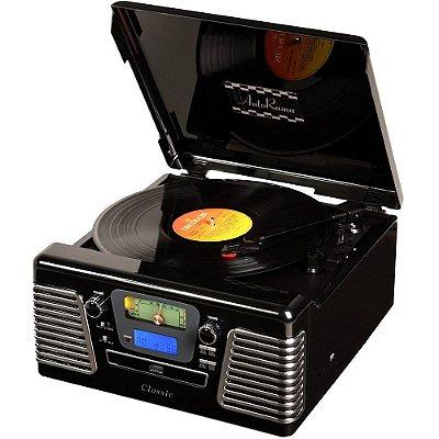 Toca Discos Classic AutoRama Preto 33836 Rádio, USB, CD e MP3 Player