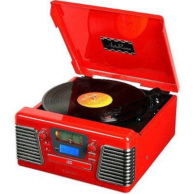 Toca Discos Classic AutoRama Vermelho 33837 Rádio, USB, CD e MP3 Player