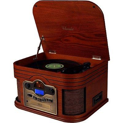 Toca Discos Classic Alabama 31902 com Rádio, USB, Fita Cassete, CD e MP3 Player