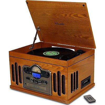 Toca Discos Classic Kansas 32386 com Rádio, USB, Fita Cassete, CD e MP3 Player