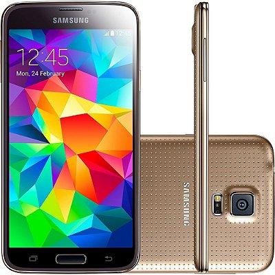 Smartphone Samsung Galaxy S5 Desbloqueado Dourado Memória Interna 16GB
