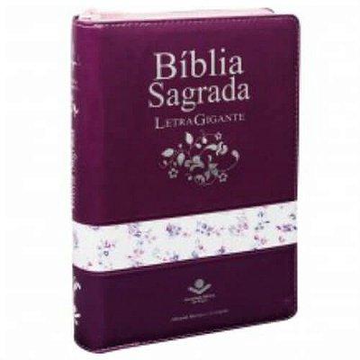 Bíblia Sagrada Letra gigante uva faixa florida ziper ARC