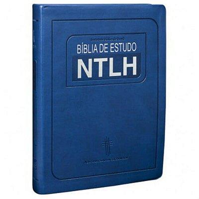 Bíblia de Estudo NTLH - azul escovado / tamanho grande / SBB