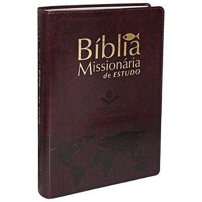Bíblia Missionária de Estudos / Almeida Revista e Atualizada / Capa couro sintético vinho nobre borda dourada / SBB