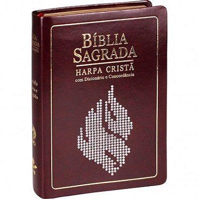 Bíblia Sagrada com Harpa cristã Dicionário - Concordância  Almeida Revista e Corrigida  Capa marrom nobre borda dourada índice / SBB