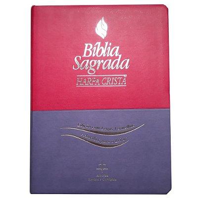 Bíblia Sagrada Harpa cristã / Almeida Revista e Corrigida / ed. Com letra vermelhas / capa Pink/violeta / CPAD