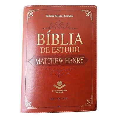 Bíblia de Estudo Matthew Henry / Almeida Revista e Corrigida / Couro sintético marrom / SBB