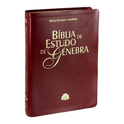 Bíblia de Estudo de Genebra / Edição Revista e ampliada /couro bonded / vinho / SBB